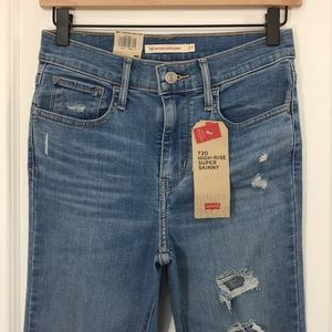 NWT Levis 720 Super Skinny High Rise Ripped Jeans